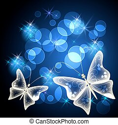 Glowing background with transparent butterfly and stars
