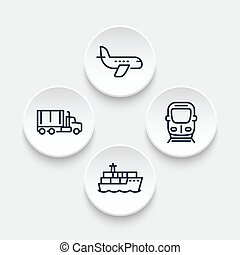 transportation industry icons in linear style