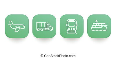 transportation industry line icons