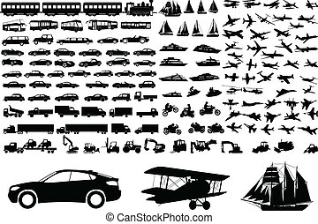 Over 100 transportation silhouettes - vector
