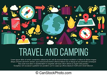 Travel and Camping banner with copyspace