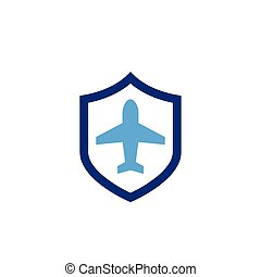 Travel insurance icon with shield and airplane