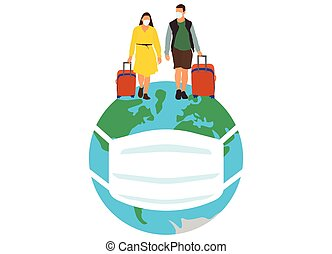 Travel of people around the world in medical masks due to the coronavirus pandemic. Vector illustration