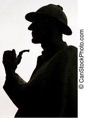 Silhouette of Sherlock Holmes taken on Oxford street.