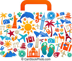 Travel suitcase with many colourful tourism and vacation icons and logos