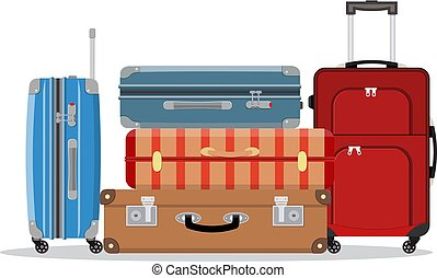 Travel suitcases stacked. Illustration for travel, holidays, trips. Suitcases vacation. Vector illustration in flat style