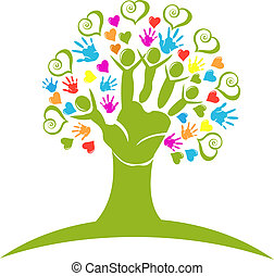 Tree hands and hearts figures logo