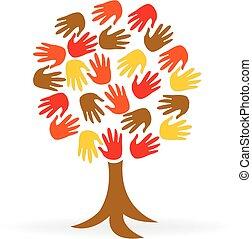 Tree hands unity people logo
