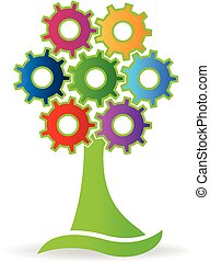 Tree made with gears logo