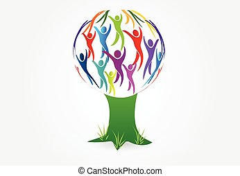 Tree people logo vector