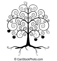 Tree Symbol - Abstract Vector Tree Silhouette Isolated on White Background - Curled Tree with Roots and Apples