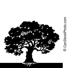 black Silhouette of a tree - vector illustration