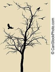 tree with birds, vector