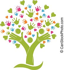 Tree with hands and hearts family figures logo