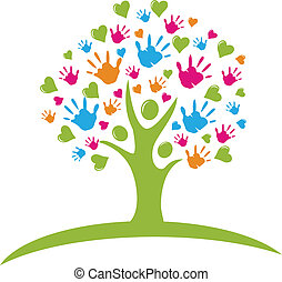 Tree with hands and hearts figures logo vector