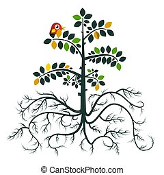 Tree with Roots. Vector Flat Design Nature Symbol with Bird Isolated on White Background.