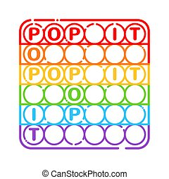 Trendy antistress sensory toy Pop it fidget in line art style isolated on white background.
