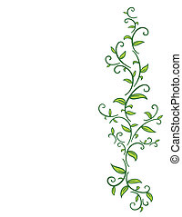 Tribal drawing of green vines with leafs.