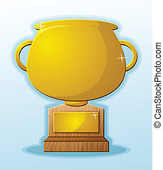 A golden trophy vector graphic with a wooden base and a blank engraved plaque on a blue background with a shadow
