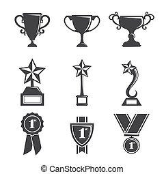 A vector illustration of a set of trophy icons
