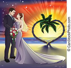 Tropical beach wedding illustration