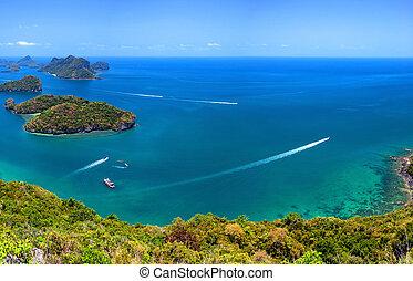 Tropical island nature, Thailand sea archipelago aerial panoramic view. Ang Thong National Marine Park near ko Samui