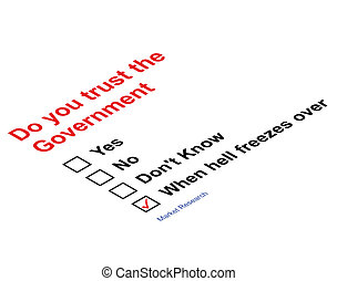 Trust Government Market research questionnaire isolated on white background