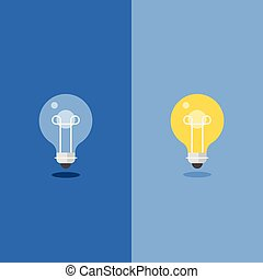 Turned Off and glowing Light Bulb, flat design
