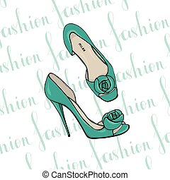 Turquoise womens dress shoes with flower.