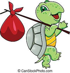 Vector illustration of turtle cartoon journey