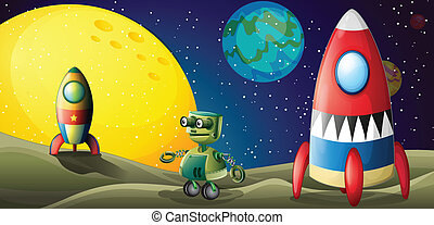 Two aircrafts and a robot in the outerspace
