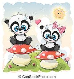 Two Cartoon pandas are sitting on mushrooms