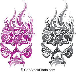 two color funky skull head.