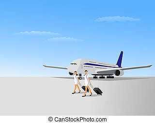 Two flight attendant women walking on an airstrip with a plane and a blue sky in the background