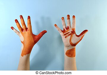Two hands on the back of the palm and palm. The red zone of heavy pollution, orange moderate, is not painted weak.