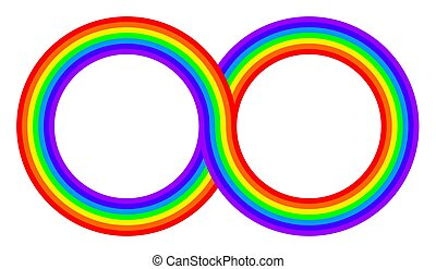 Two intertwined rainbow colored circles