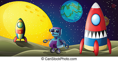 Two spaceships and a purple robot in the outerspace