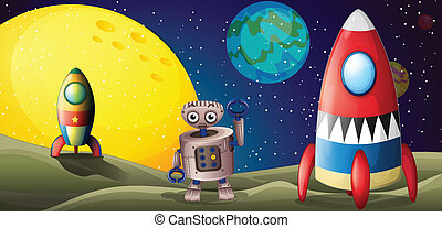 Two spaceships and a robot in the outer space