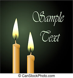 Two Vector Candles with Black Background