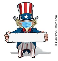 Uncle Sam Holding a Sign - Surgical Mask