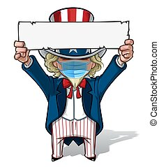 Uncle Sam Holding Up a Sign - Surgical Mask