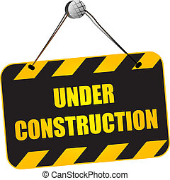 Under construction sign over white background