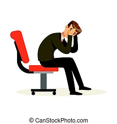 Unfortunate businessman dissatisfied with his work sitting on the chair, unsuccessful character vector Illustration