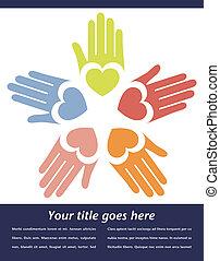 United hands vector design.