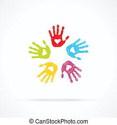 United loving hands abstract vector logo