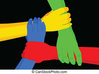 Stock vector of people holding hands