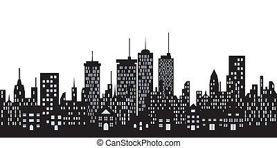 Big city skyline with tall buildings