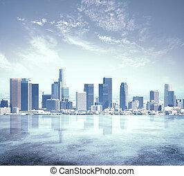 urban city skyline with sunset