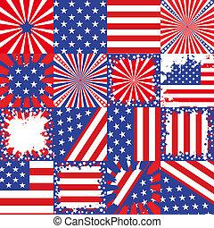 USA flag background set