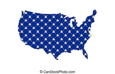 USA map coronavirus social distancing between people